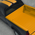 Orange Spray-in Bedliner in Truck Bed
