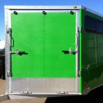 Trailer Coated in Green Sprayed Bedliner